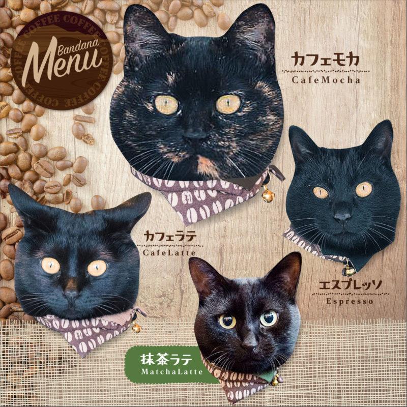 サイズ調節可能・安全機能付き★お洒落バンダナ猫の首輪コーヒー豆柄